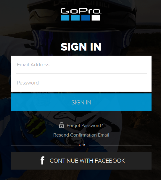GoPro Quik app login screen.
