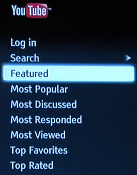 Blu-ray app browsing categories.