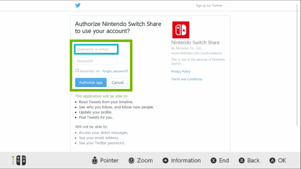 Twitter login screen on Nintendo Switch.