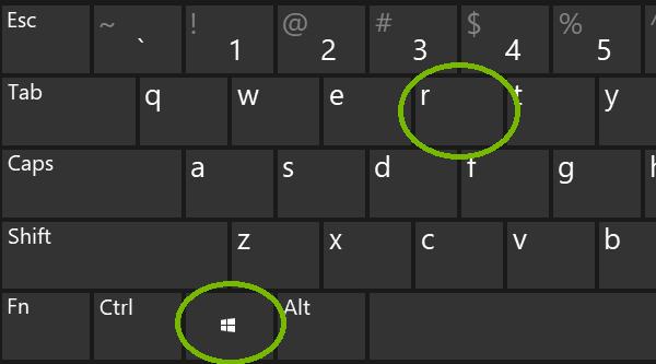 Windows key and R. Screenshot
