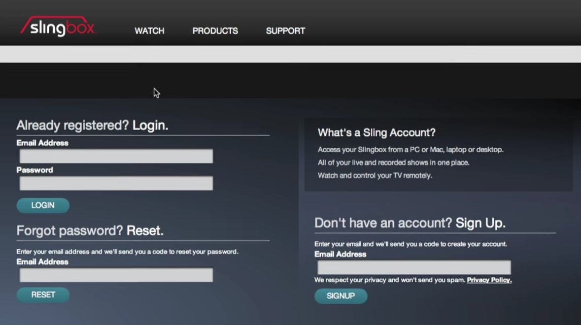 Sling account login/sign up