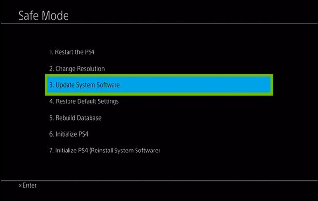 Safe Mode menu with Update System Software highlighted.