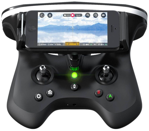 SkyController with smartphone mounted.