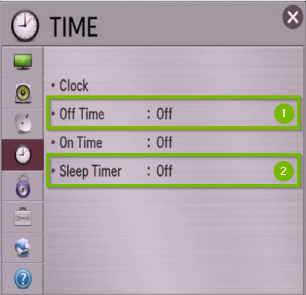 LG time menu with sleep timer and off time highlighted.