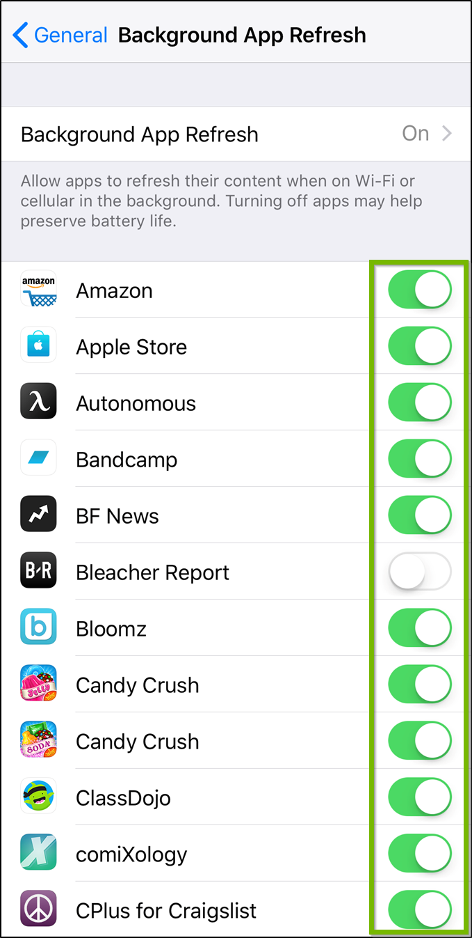 iOS Background app refresh menu highlighting the toggle switches next to available apps.