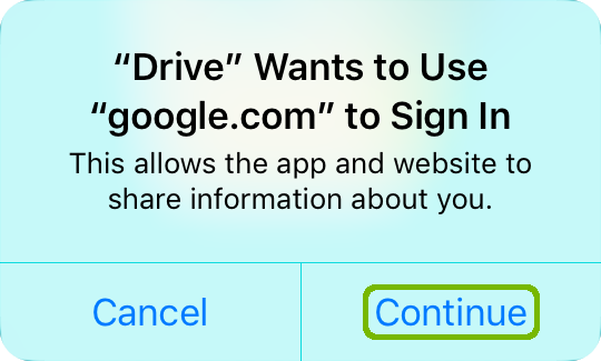 Drive requesting permission to use Google.com to sign in with Continue highlighted.