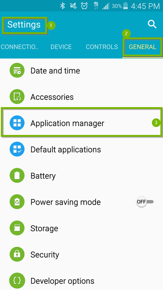 Android settings screen with highlights on Settings, General and Application Manager. Screenshot.