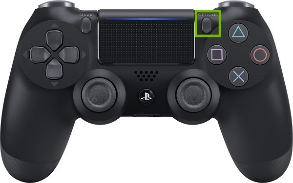 DualShock 4 controller with Options button highlighted.