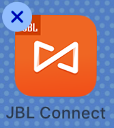 Shaking JBL Connect app icon with x in top left of icon
