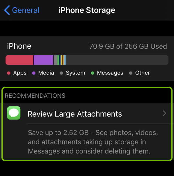 Recommendations section highlighted in device storage settings on iOS.