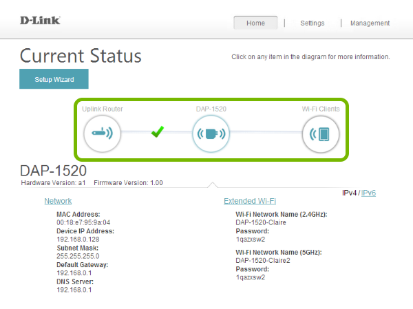 Range extender status highlighted in web interface.