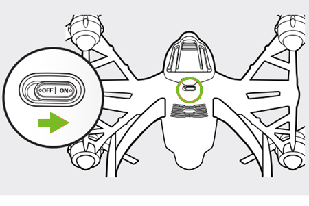Diagram showing the on button for the drone