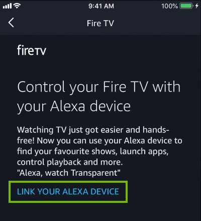 Selecting link your alexa device