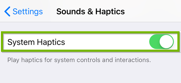 iOS Sounds and haptics menu highlighting the system haptics toggle switch.