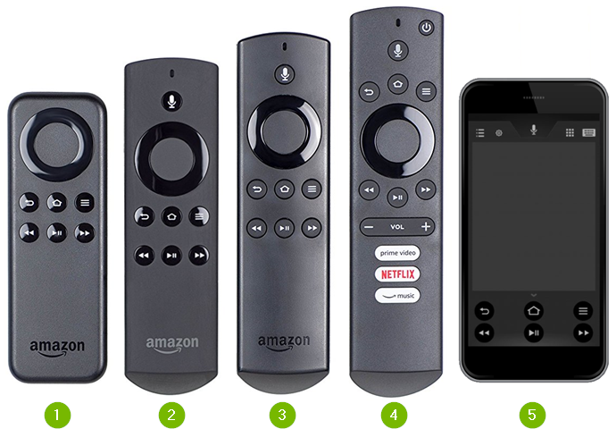 Amazon Fire remote control lineup.