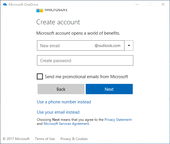 Microsoft OneDrive Create account form.