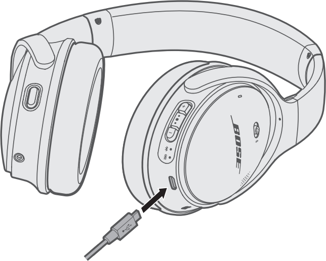 Diagram showing connecting headphones to charging cable.