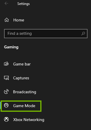 Game Mode in settings