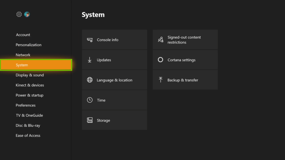 Settings menu with System selected. Screenshot.