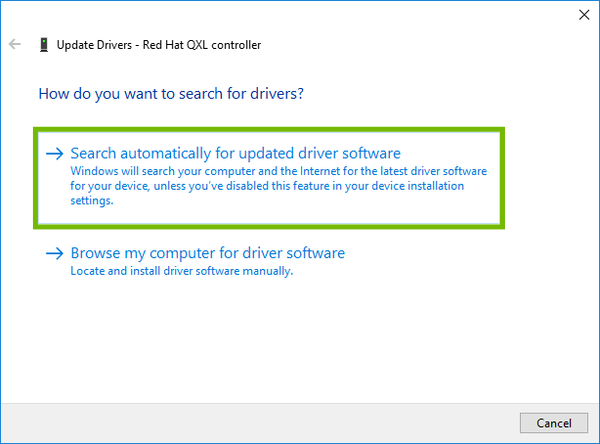 Update Drivers with Search automatically for updated driver software highlighted.