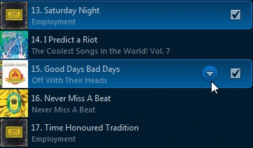 Track selection and dropdown symbol placement in Sonos Controller for computers