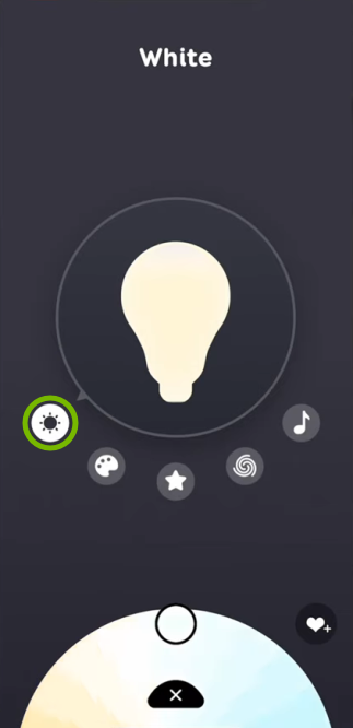 Sun icon highlighted for selected bulb in EufyHome app.