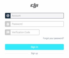 DJI Assistant 2 log in fields