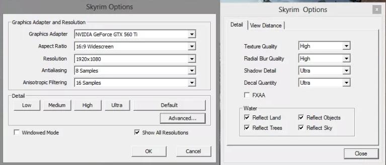 Skyrim's graphical settings