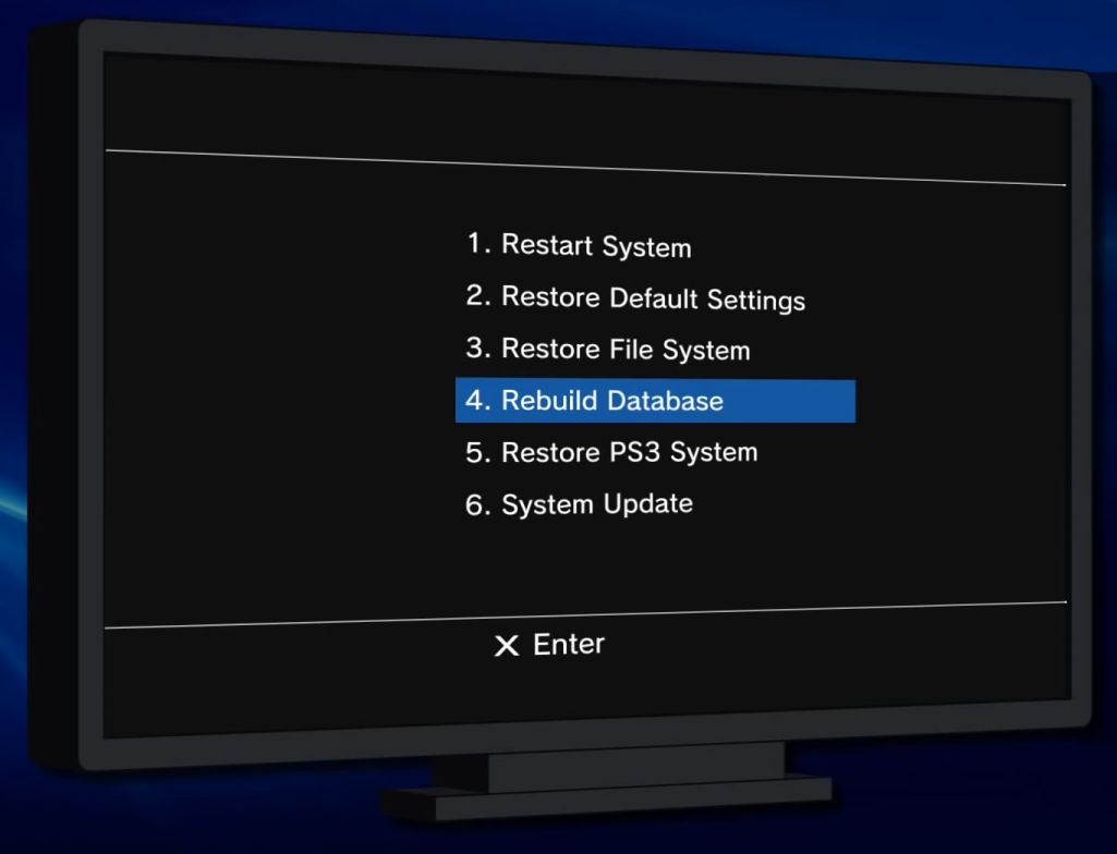 Safe mode with Rebuild Database selected.