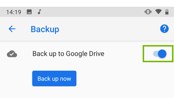 Google Drive backup toggled to on