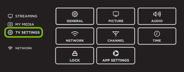 TV Settings option highlighted in Smart TV menu.