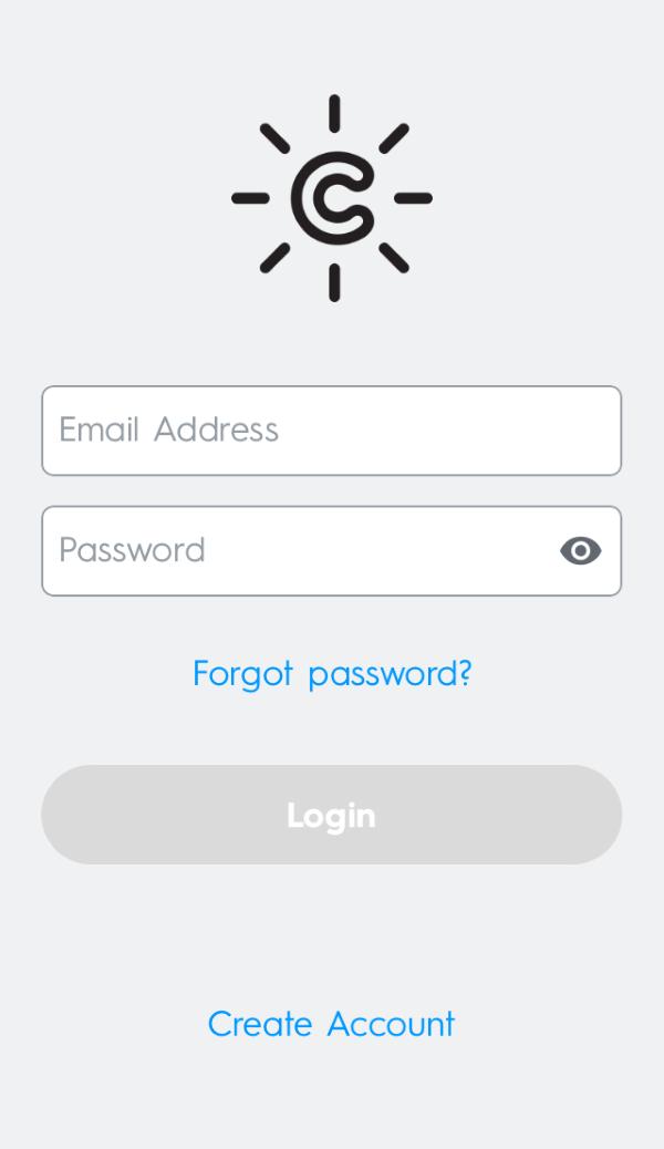 C by GE app login screen.