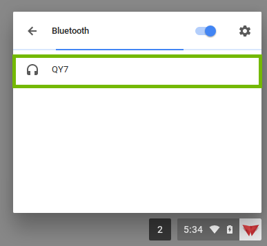 Chrome Bluetooth settings with an unpaired device highlighted