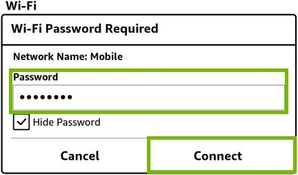 Wi-Fi password entry with password and Connect button highlighted.
