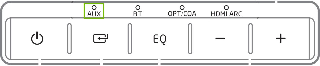 Soundbar lights with Aux highlighted