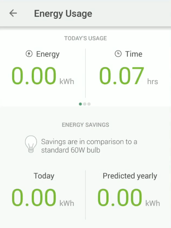 Bulb energy usage screen in Kasa app.