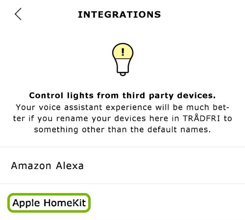 Apple HomeKit option highlighted in integration settings.