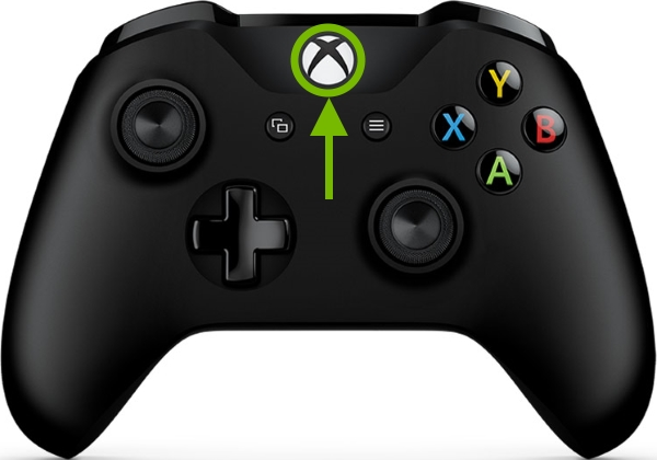 Xbox button pointed out on Xbox One controller.