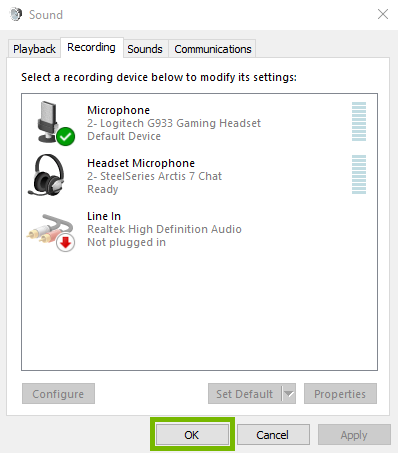 Screenshot of Recording tab in sound control panel with OK highlighted.