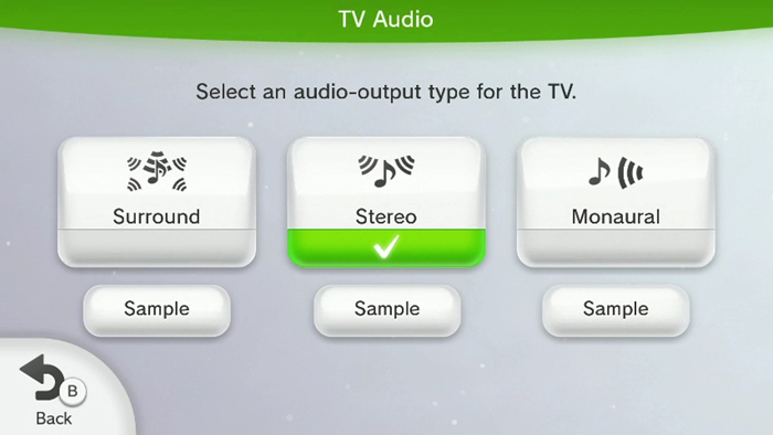 Nintendo Wii U TV audio screen highlighting the stereo option.