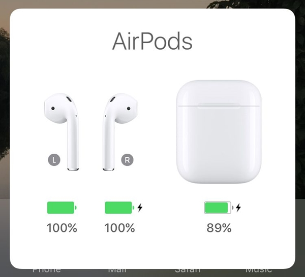 iOS screen with AirPods battery level display. Screenshot.