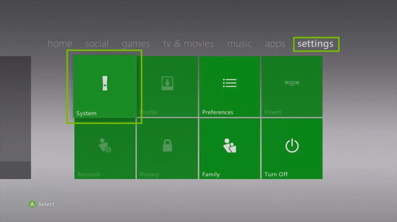 Xbox 360 Settings menu, highlighting the System icon.