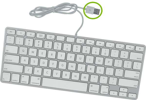 USB connector highlighted for Apple Wired Keyboard.
