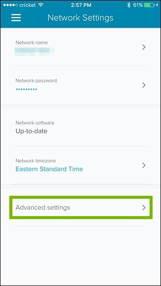 Advanced network settings