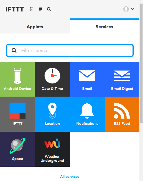 My Applets, Services.
