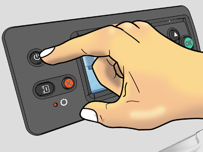 Illustration of a user pressing the power button on the front of a printer.