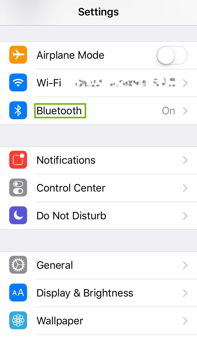 iOS Settings menu highlighting Bluetooth.