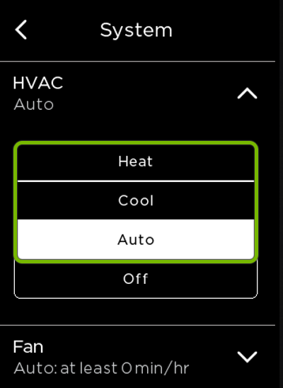HVAC modes highlighted in ecobee settings.