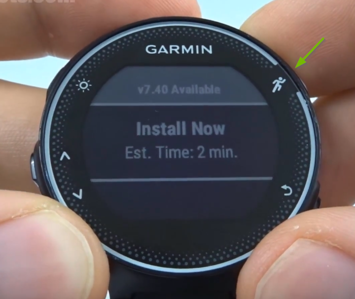 Garmin Forerunner with Install Now selected on screen.