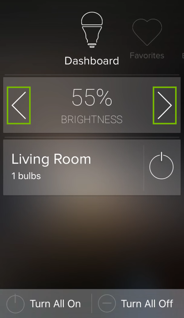 Brightness adjustment controls highlighted for selected group in ilumi app.